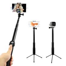 Selfie tyč / monopod teleskopická + tripod + bluetooth dálkové ovládání / spoušť - černá