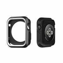 Kryt / rámeček pro Apple Watch 38mm 1 / 2 / 3 series - sportovní - silikonový - černý / bílý