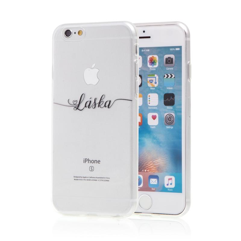 "Kryt pro Apple iPhone 6 / 6S - gumový - nápis ""Láska"""