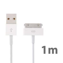 Synchronizační a nabíjecí kabel s 30pin konektorem pro Apple iPhone / iPad / iPod - bílý - 1m - kvalita A+
