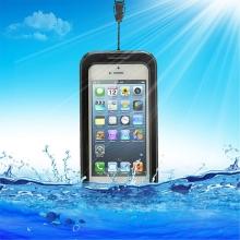 Pouzdro pro Apple iPhone 4 / 4S / 5 / 5C / 5S / SE voděodolné plasto-silikonové - černo-průhledné