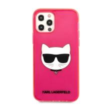 Kryt KARL LAGERFELD Choupette pro Apple iPhone 12 / 12 Pro - gumový - růžový