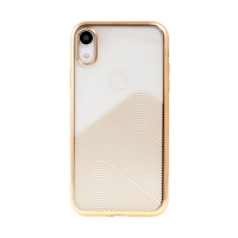 Kryt SULADA pro Apple iPhone X / Xs - lesklé vlnky - gumový - průhledný / zlatý
