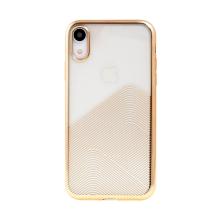 Kryt SULADA pro Apple iPhone Xr - lesklé vlnky - gumový - průhledný / zlatý
