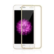 Super odolné tvrzené sklo (Tempered Glass) na přední část Apple iPhone 6 / 6S - tenký zlatý rámeček - 0,3mm
