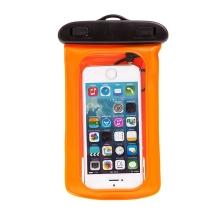 Pouzdro pro Apple iPhone 4 / 4S / 5 / 5S / 5C / SE / 6 / 6S / 7 voděodolné gumové / plastové - se sluchátky - průhledné / oranžo