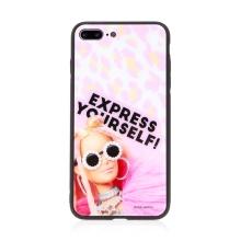 Kryt BARBIE pro Apple iPhone 7 Plus / 8 Plus  - Express Yourself - skleněný - růžový