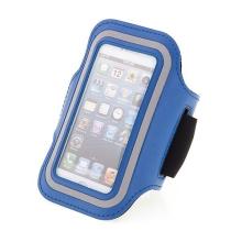 Sportovní pouzdro pro Apple iPhone 5 / 5C / 5S / SE - modré s reflexním pruhem