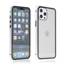 Kryt pro Apple iPhone 12 / 12 Pro - magnetické uchycení - sklo / kov - 360° ochrana - průhledný / stříbrný