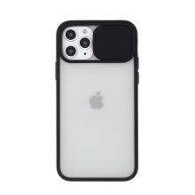 Kryt pro Apple iPhone 11 Pro - plastový / gumový - posuvná krytka fotoaparátu - průhledný / černý