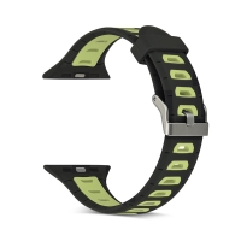 Řemínek pro Apple Watch 38mm Series 1 / 2 / 3 silikonový - černý / žluté otvory - (S/M)