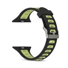 Řemínek pro Apple Watch 40mm Series 4 / 38mm 1 2 3 - silikonový - černý / žluté otvory - (S/M)