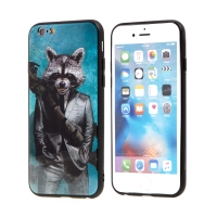 Kryt MARVEL pro Apple iPhone 6 / 6S - Rocket - sklo / guma