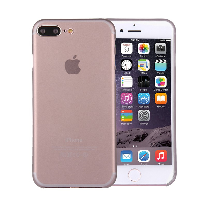 Kryt / obal pro Apple iPhone 7 Plus / 8 Plus chrana čočky - plastový / tenký - šedý