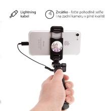 Selfie tyč / monopod USAMS - kabelová spoušť s lightning konektorem + zrcátko - černá