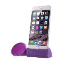 Přenosný silikonový stojánek se zesilovačem zvuku pro Apple iPhone 6 Plus / 6S Plus / 7 Plus - fialový