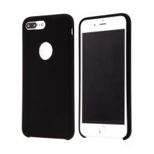 Kryt pro Apple iPhone 8 Plus - gumový - příjemný na dotek - výřez pro logo - černý