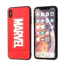 Kryt MARVEL pro Apple iPhone Xs Max - sklo / guma - červený