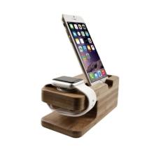 Dřevěný nabíjecí stojánek Seenda pro Apple iPhone a Apple Watch 38mm / 42mm - světlý