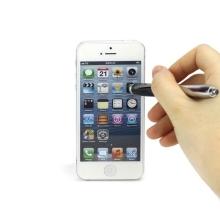 3v1 dotykové pero / stylus s propiskou + LED svítilna - černo-stříbrné