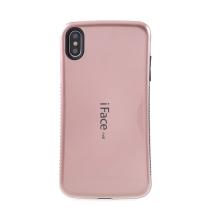 Kryt iFACE pro Apple iPhone Xs Max - plastový / gumový - černý / Rose Gold růžový