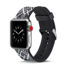 Řemínek pro Apple Watch 44mm Series 4 / 42mm 1 2 3 - silikonový - čtyřúhelníkový vzor