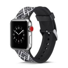 Řemínek pro Apple Watch 44mm Series 4 / 5 / 42mm 1 2 3 - silikonový - čtyřúhelníkový vzor