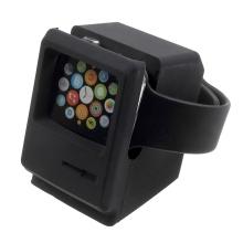 Nabíjecí stojánek pro Apple Watch ve stylu Macintosh počítače - silikonový - černý