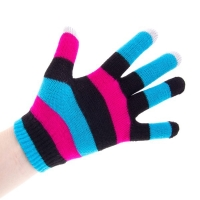 Rukavice pro ovládání dotykových zařízení - pruhované 4-barevné tmavé