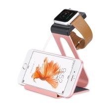 Hliníkový nabíjecí stojánek HOCO pro Apple iPhone a Apple Watch 38mm / 42mm - růžově zlatý (rose gold)