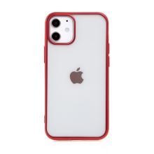 Kryt FORCELL Electro Matt pro Apple iPhone 12 mini - gumový - průhledný / červený