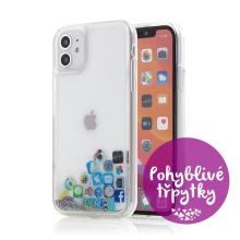 Kryt pro Apple iPhone 11 - pohyblivé třpytky - plastový / gumový - ikony aplikací