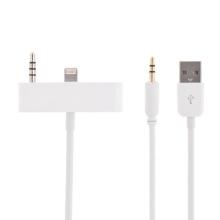 Synchronizační, nabíjecí a 3,5 mm AUX audio propojovací kabel pro Apple iPhone 5 - bílý