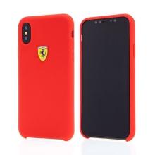 Kryt FERRARI pro Apple iPhone X - plastový / silikonový - logo Ferrari - červený