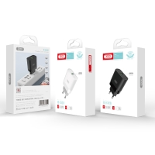 Nabíječka / EU napájecí adaptér XO L63 - 1x USB - 15W QuickCharge - černý