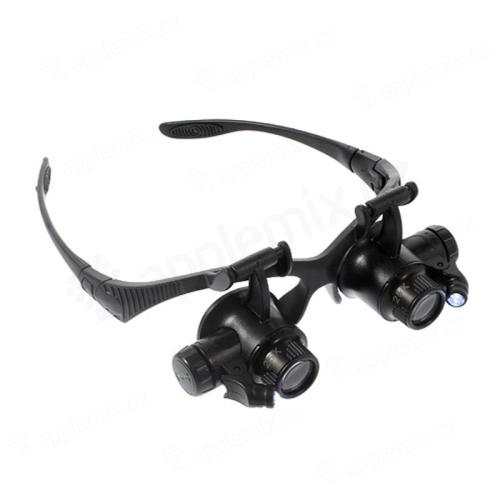 Brýlová lupa výklopná (nástavce zvětšení 10x 15x 20x 25x) s LED osvětlením