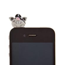 Antiprachová záslepka na jack konektor pro Apple iPhone a další zařízení - pirate pig - šedá