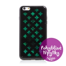 Kryt pro Apple iPhone 6 Plus / 6S Plus - pohyblivé třpytky - geometrické tvary - černý / zelený