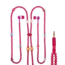 Sluchátka / náhrdelník korálková růžová