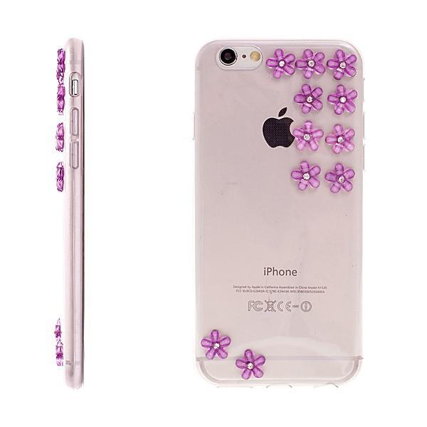 Kryt pro Apple iPhone 6 / 6S gumový tenký - květy s lesklými kamínky - průhledný / fialový