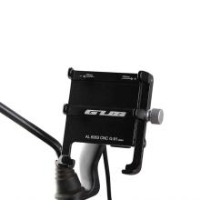 Držák na motorku + nabíječka GUB pro Apple iPhone - pod zrcátko - univerzální - spodní zarážky - hliník - černý