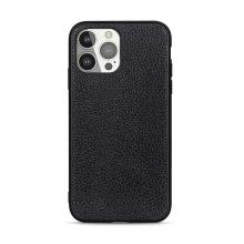 Kryt pro Apple iPhone 13 Pro - gumový - kožená textura - černý