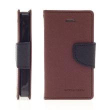 Pouzdro Mercury Fancy Diary pro Apple iPhone 4 / 4S, stojánek a prostor pro platební karty - hnědé
