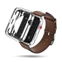 2v1 Kryt / rámeček DUX DUCIS pro Apple Watch 42mm 1 / 2 / 3 - lesklý stříbrný + průhledný - gumové