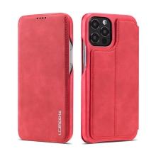 Pouzdro pro Apple iPhone 12 / 12 Pro - umělá kůže - stojánek - červené