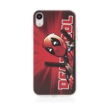 Kryt MARVEL pro Apple iPhone Xr - gumový - Deadpool - červený