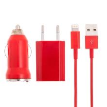 3v1 nabíjecí sada pro Apple zařízení - EU adaptér, autonabíječka USB 1A a kabel Lightning - červená
