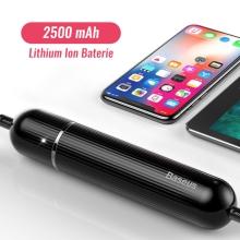 Synchronizační a nabíjecí kabel Lightning s integrovanou baterií BASEUS - power bank 2500 mAh - tkanička - černý