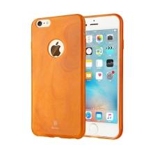 Kryt BASEUS pro Apple iPhone 6 Plus / 6S Plus gumový / výřez pro logo - textura mramoru - oranžový