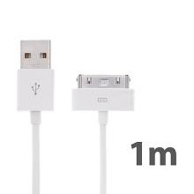 Synchronizační a nabíjecí kabel s 30pin konektorem pro Apple iPhone / iPad / iPod - bílý - 1m (baleno v krabičce)